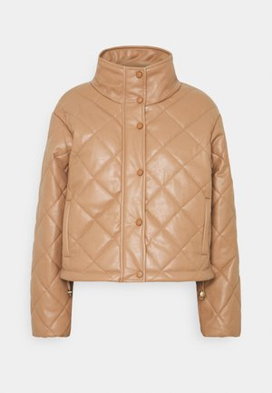QUILTED JACKET WITH BUTTON DETAIL - Light jacket - mocha