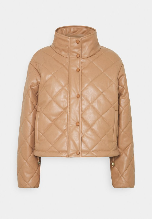 QUILTED JACKET WITH BUTTON DETAIL - Overgangsjakker - mocha