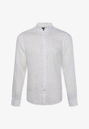 WE FASHION HERREN-SLIM-FIT-HEMD AUS LEINEN - Shirt - white/blue