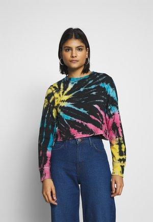 LADIES TIE DYE CROPPED CREWNECK - Sweatshirt - black