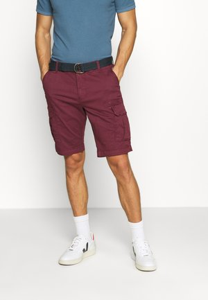 WITH BELT - Shorts - burgundy