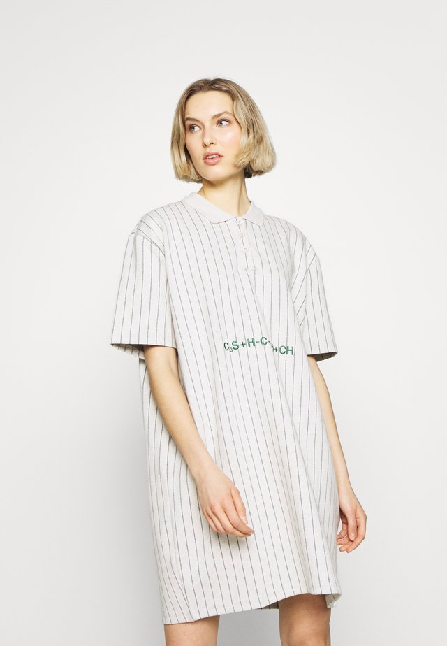 POLO DRESS - Pouzdrové šaty - pintripe white
