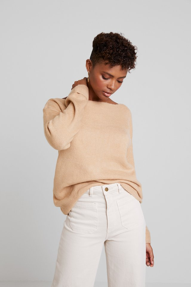 BASIC OFF SHOULDER - Strickpullover - beige