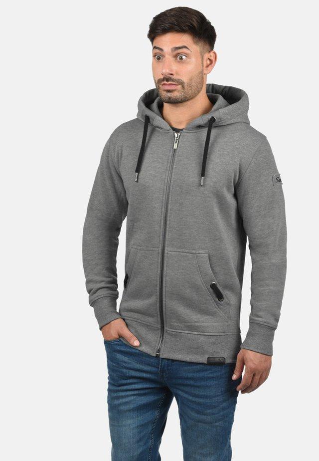 Hoodie met rits - grey melange