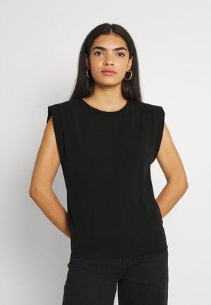 PADDED SHOULDER - Print T-shirt - black