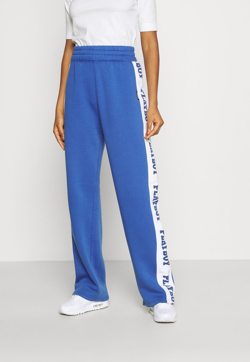 Missguided - PLAYBOY SPORTS WIDE LEG - Tracksuit bottoms - navy