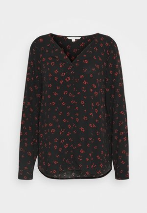 Blouse - black rust flower print