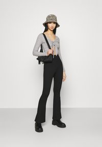 Topshop - TIE FRONT BRUSHED - Long sleeved top - grey marl - 1