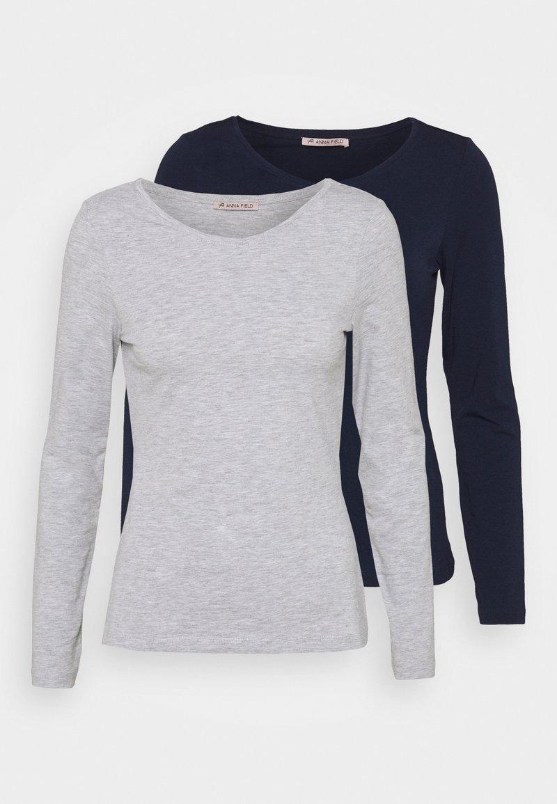 Anna Field - 2 PACK - Langærmede T-shirts - dark blue/mottled light grey