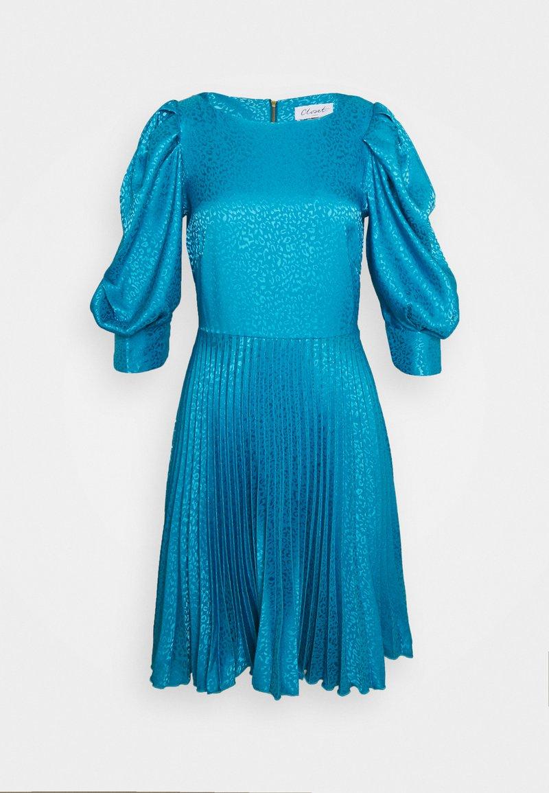 Closet - PUFF SLEEVE PLEATED DRESS - Cocktail dress / Party dress - blue