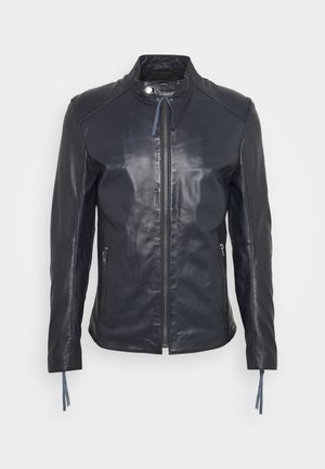 DENZEL - Leather jacket - midnight blue