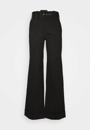 BELTED TROUSER - Spodnie materiałowe - black