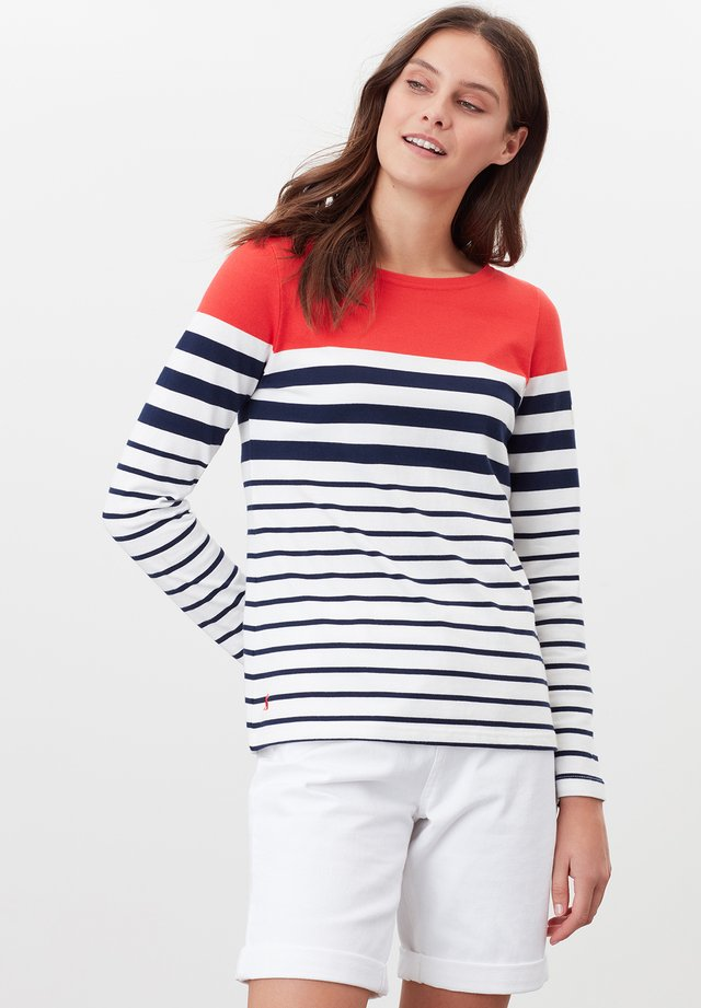 LONG SLEEVE - Long sleeved top - cremefarben marineblau rot streifen
