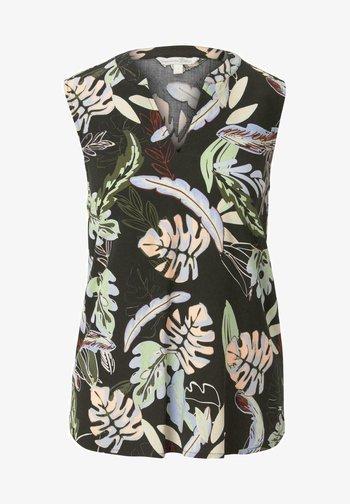 Blouse - black tropical print