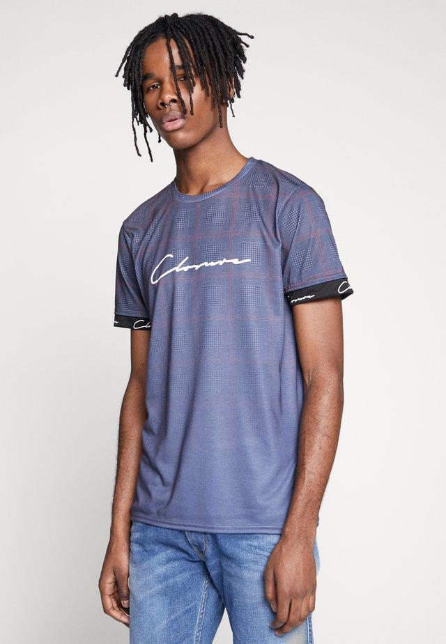 FADE CHECK TEE - T-shirt print - blue