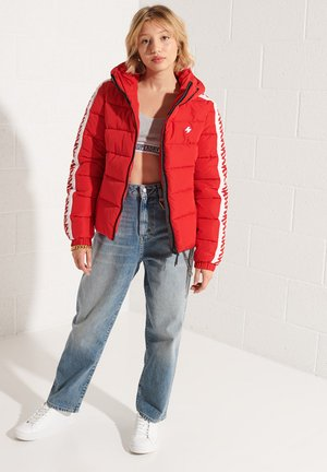 HOODED SPIRIT TAPED PUFFER  - Winter jacket - risk red