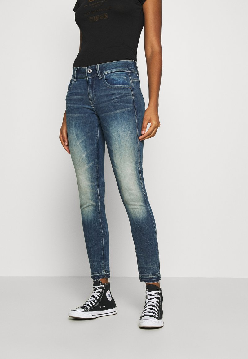 G-Star - LYNN MID SKINNY RIPPED ANKLE  - Jeans Skinny Fit - antic faded baum blue