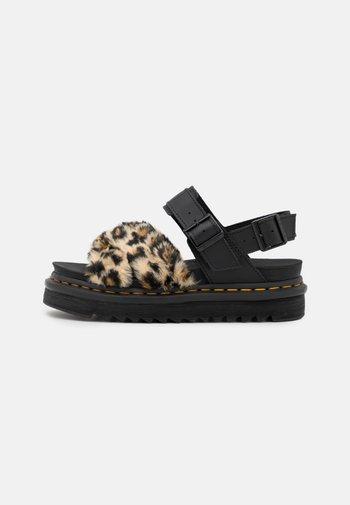 VOSS FLUFFY - Platform sandals - tan/black