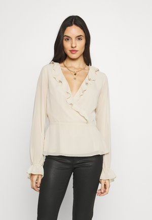 WRAPPED RUFFLE BLOUSE - Blouse - pink