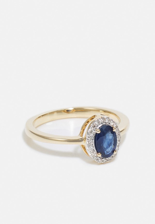 NATURAL DIAMOND RING CARAT HALO BLUE SAPPHIRE DIAMOND RINGS 9KT YELLOW GOLD DIAMOND JEWELLERY GIFTS FOR WOMENS - Ring - yellow gold