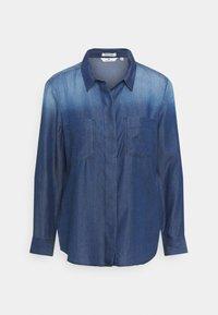 TOM TAILOR - BLOUSE WITH DENIM LOOK - Button-down blouse - dark stone wash denim - 0