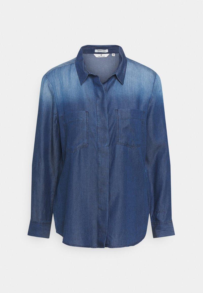 TOM TAILOR - BLOUSE WITH DENIM LOOK - Button-down blouse - dark stone wash denim