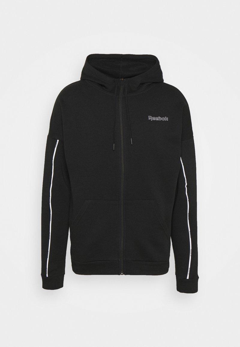 Reebok - PIPING HOODIE - Felpa con zip - black