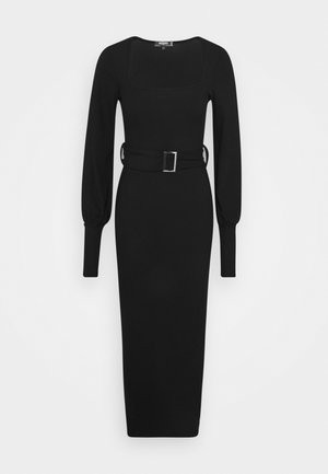 SQUARE NECK SELF BELT MIDAXI DRESS - Pouzdrové šaty - black
