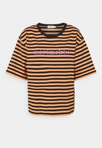 Marimekko - ENSILUMI LOGO TASARAITA - Print T-shirt - dark orange/black/purple - 0