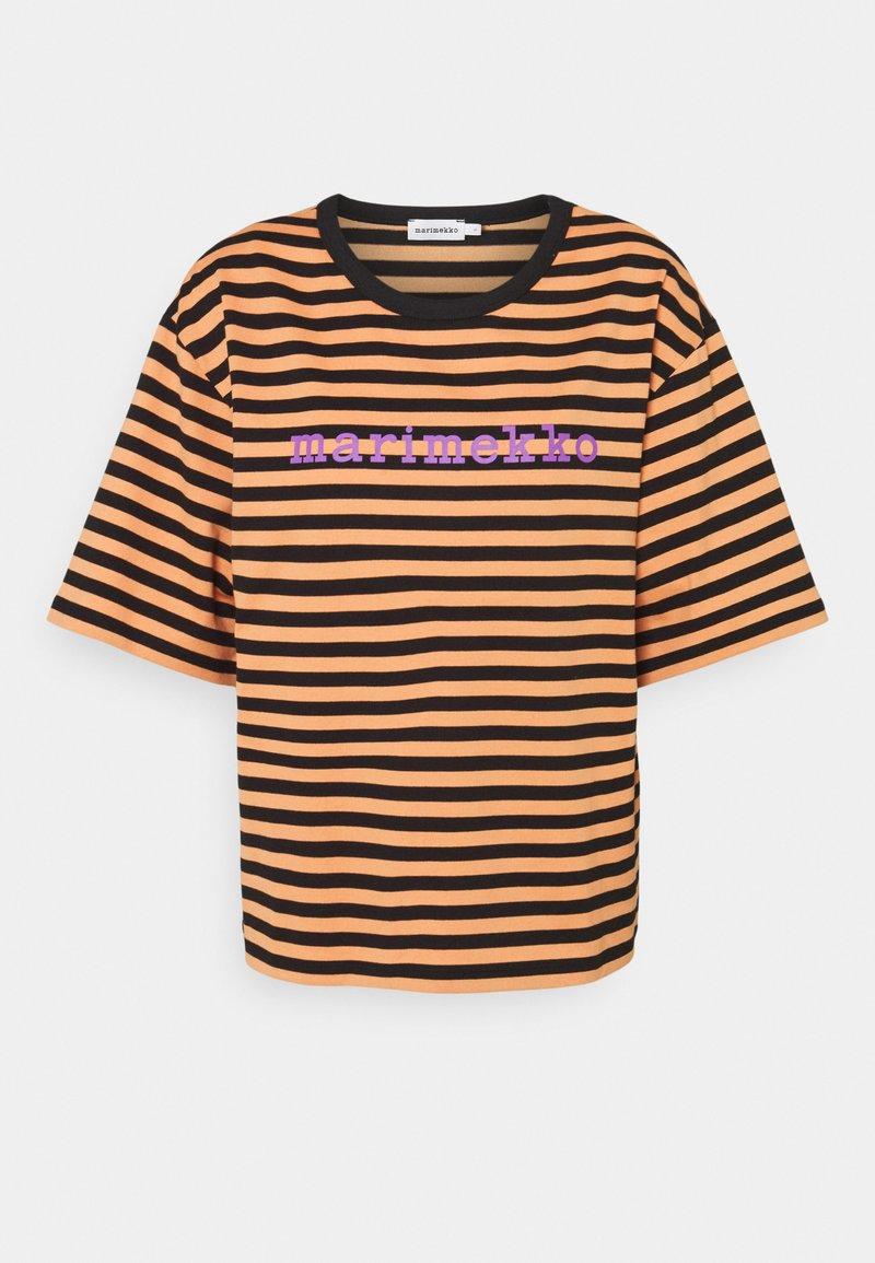 Marimekko - ENSILUMI LOGO TASARAITA - Print T-shirt - dark orange/black/purple