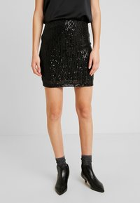 Gina Tricot - EXCLUSIVE HOLLY GLITTER SKIRT - Minisukně - black - 0