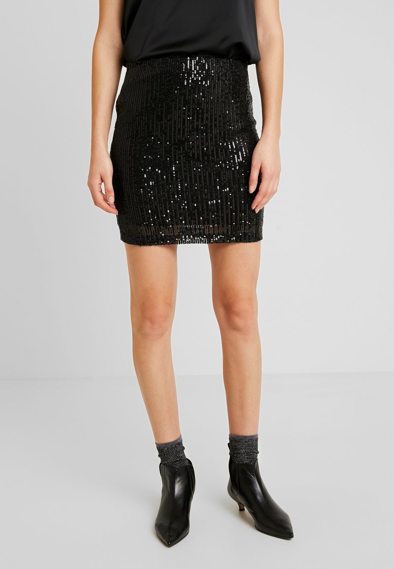 Gina Tricot - EXCLUSIVE HOLLY GLITTER SKIRT - Minisukně - black