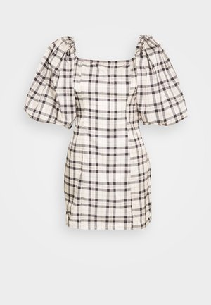 PUFFY CHECK DRESS - Hverdagskjoler - tan