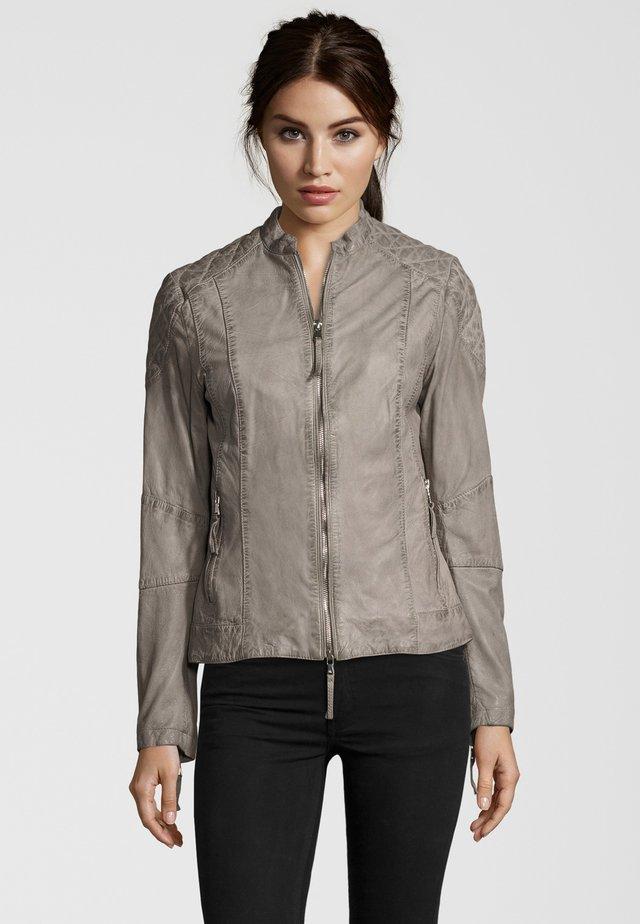 MIT STEHKRAGEN - Leather jacket - grey