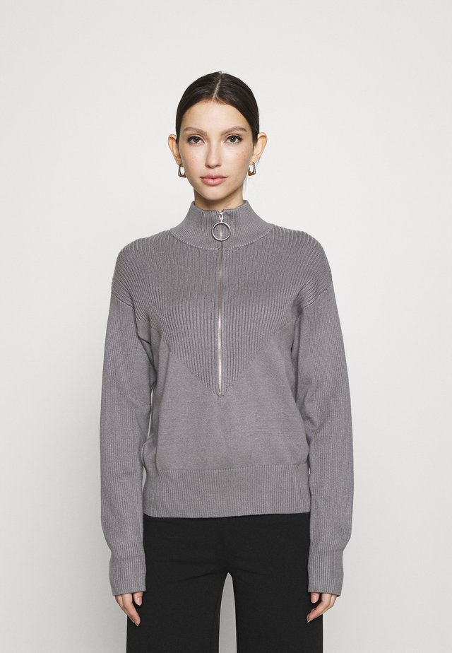 ZIP KNIT POLO - Strickpullover - grey