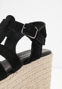 Even&Odd - WEDGE  LEATHER - High heeled sandals - black - 2