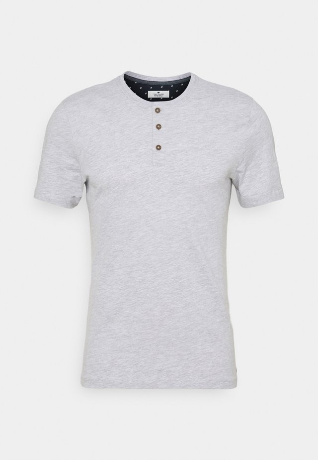 HENLEY WITH SMART DETAILS - Basic T-shirt - light stone/grey melange