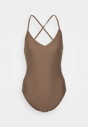 SHINY CROSSBACK SWIMSUIT - Badpak - nougat brown