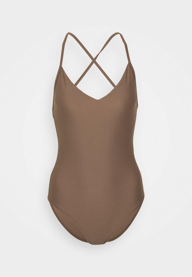 Filippa K - SHINY CROSSBACK SWIMSUIT - Plavky - nougat brown