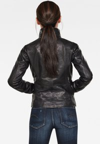G-Star - COLLAR SLIM - Leather jacket - dk black - 1