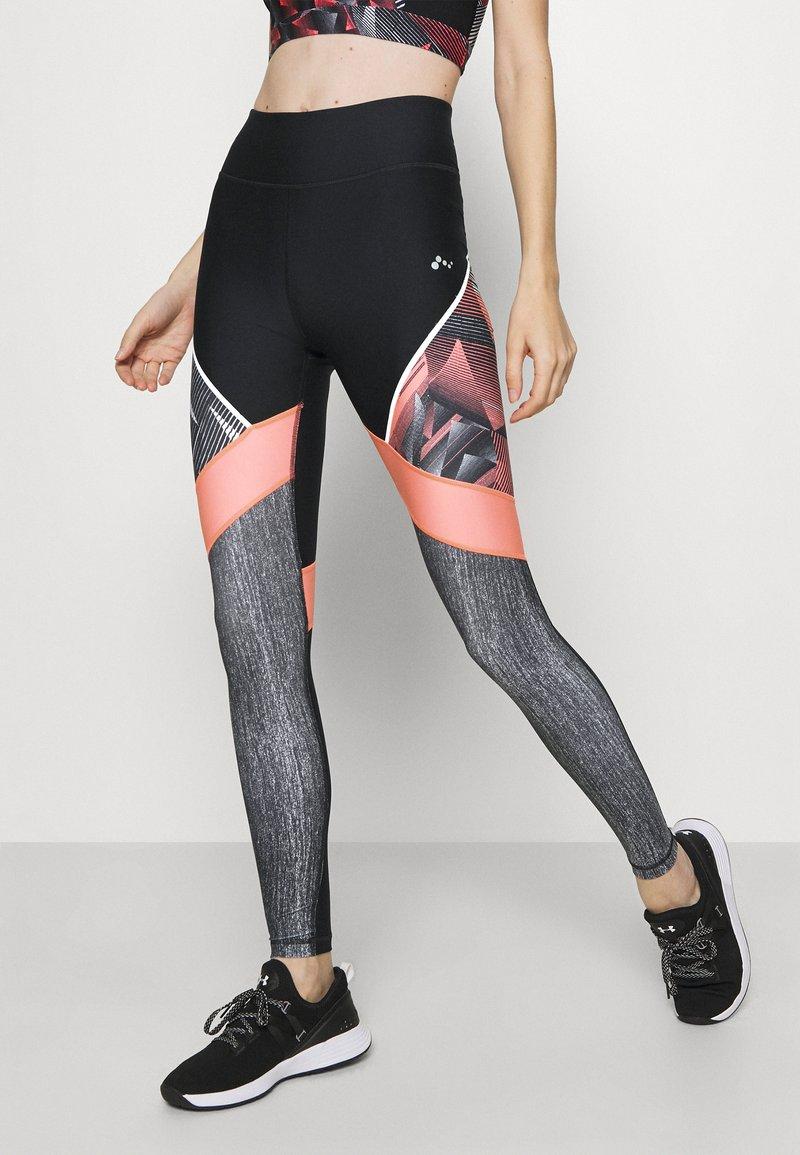 ONLY Play - ONPJUDIE TRAINING  - Leggings - black/fiery coral