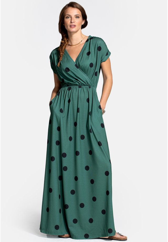 Vestito lungo - black polka dots on green