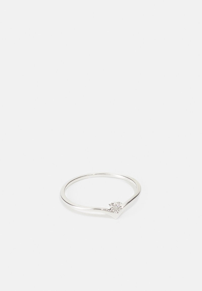 DIAMANT L'ÉTERNEL - 9KT YELLOW GOLD CERTIFIED DIAMOND ILLUSION PLATE RING - Ring - silver-coloured