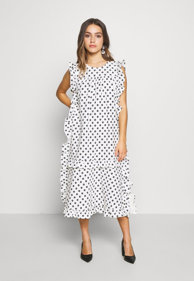 FRILL VOLUME PRINTED SMOCK DRESS - Korte jurk - mono