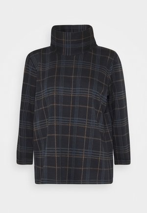 ROLLNECK CHECK - Long sleeved top - navy blue/camel