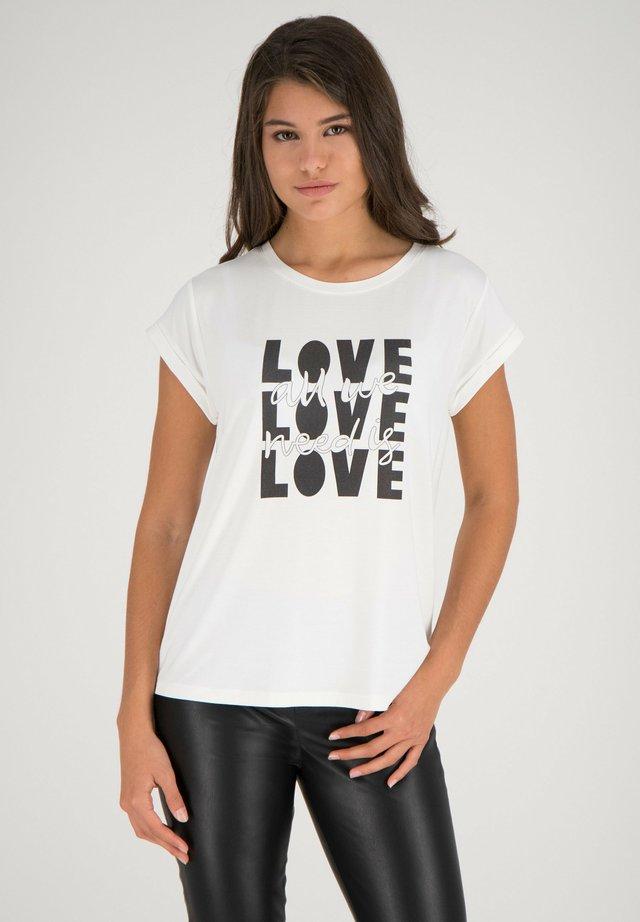 T-shirt con stampa - offwhite-multicolor
