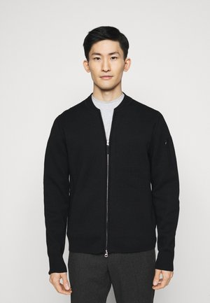 LANDON ZIP CARDIGAN - Cardigan - black