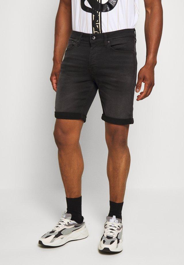 JJIRICK JJICON SHORTS  - Shorts vaqueros - black denim