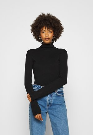 BASIC- TURTLE NECK - Stickad tröja - black