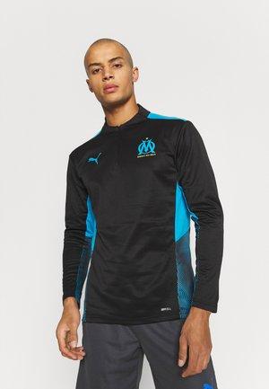 OLYMPIQUE MARSEILLE TRAINING 1/4 ZIP - T-shirt à manches longues - black/bleu azur